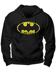 Batman - sudadera con capucha - logo del superhéroe de DC Comics - gran calidad - estampado frontal grande - negra - XXL