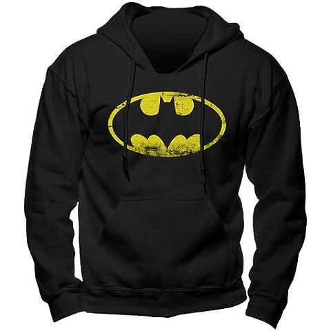 Batman - sudadera con capucha - logo del superhéroe de DC Comics - gran calidad - estampado frontal grande - negra -