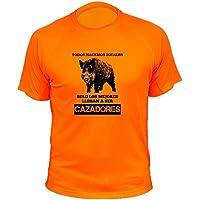 Camisetas Personalizadas de Caza, Todos nacemos Iguales, Ideas Regalos, Verraco (30142, Naranja, XL)