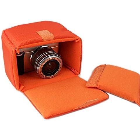 GenialES Organizador Acolchado Protector Antichoques para Cámaras SLR DSLR Bridge CSC con 1 Separador Desmontable para Bolso Morral Naranja