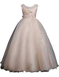 Qitun Ragazze Bambina Principessa Senza Maniche Elegante Abito per  Compleanno Festa Matrimonio Damigella d Onore f245b1b7184