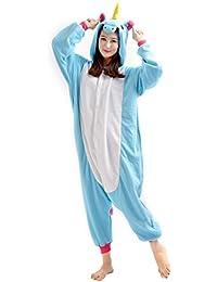 YARBAR Kigurumi Pijamas Unisexo Adulto Traje Disfraz de Halloween Animal Pyjamas azul del unicornio