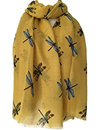 Purple Possum Dragonfly Scarf Yellow Blue Dragonflies Print, Ladies Mustard Wrap Shawl Sarong