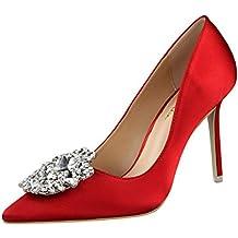 Tacón alto mujer verano 2018, Covermason Las mujeres bombean los zapatos con fino estilo Rhinestone