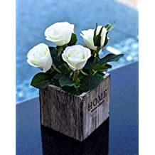YATAI Real Touch Artificial Rose Flowers Potted Artificial Plants in Wooden Pots Small Houseplants Fake Rose Flowers for Home Indoor Office Greenery Tabletop Décor Centerpiece (White)