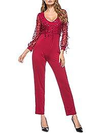 Terryfy Damen Lang Jumpsuit Elegant V-Ausschnitt Langarm Mesh Overall mit  Pailletten Bodysuit e390407794