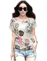 Rcool Mujeres Camiseta de Manga Corta Impresa Casual Blusa de Verano Tops Chaleco
