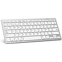 OMOTON Teclado Bluetooth Español Ultra-Delgado para iPad/iPad Pro/iPad Air/iPad Mini/iPhone y Todas Sistemas de iPadOS/iOS, No se Adapta a Mac, Macbook - Blanco