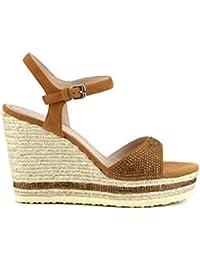 CafèNoir - Sandalias de vestir de ante para mujer marrón cuero