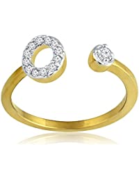 Spargz Gold Plated CZ Diamond Double Round Open Ring For Party Women Wedding AIFR 108
