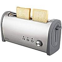 Cecotec Tostadora Steel&Toast 1L. con Capacidad para Dos Tostadas. Ranura XL. Incluye Soporte para panecillos. 1000 W de Potencia y 6 Posiciones de Tostado, función descongelar y función recalentar