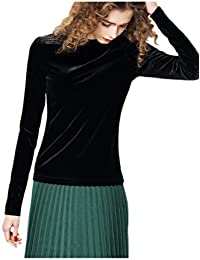 Women Casual Solid Long Sleeve Velvet T Shirt Night Club Top Tee Plus Size