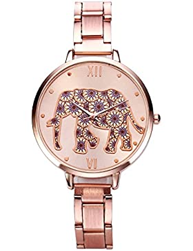 JSDDE Uhren,Elegante Damen-Armbanduhr Blumen Elefant XS Slim Damenuhr Rosegold Metall-Band Ladies Dress Analog...
