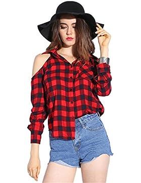 Dioufond Blusas Mujeres de Algodón a Cuadros Blusas de Manga Larga Camisas Femeninas Fuera de Los Hombros Con...