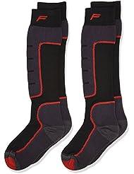 F Lite Niños Esquí Esquí SA 100Double Calcetines, otoño/invierno, infantil, color negro/rojo, tamaño 31-34