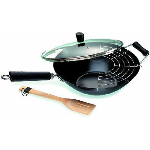 Ken Hom Tao Plus - Set wok de acero carbonatado con rejilla, tapa de vidrio y espátula, 32 cm