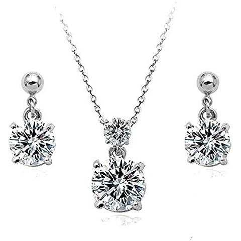 Zirconi Swarovski collana di elementi e Orecchini Set 18K bianco, regalo perfetto