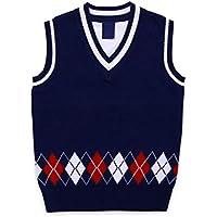GKKXUE Chaleco de punto del suéter de los niños Viento de universidad salvaje chaleco
