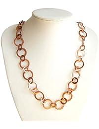 Gemshine - Damen - Halskette - Rose Vergoldet - LOOPS - 90 cm