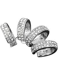 Contever® 1x Fake Piercing Quadruple Plain Ring Ring Cuff Clip Ohrklemme Ohrring - Ohne Loch (Silber)