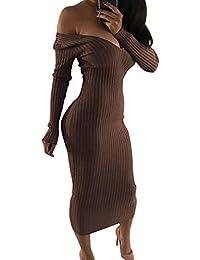 762cca60e718 Simple-Fashion Donne Primavera Autunno Spalla Fredda Maglioni Vestiti Sexy  Strette Midi Abiti da Partito