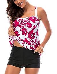 b912d2a87429b8 DAYU Damen Retro Tankini Sets Große Größe Bademode Rückenfrei Tankini  Bikini Set Top+Shorts Swimwear
