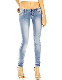 Bestyledberlin Damen Jeans, klassische Skinny Hüftjeans eng, Röhrenjeans ausgewaschen j28i