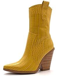 8a6742eb5885 Angkorly - Chaussure Mode Bottine Santiags - Cowboy Rock Femme imprimé  Serpent Python Croco Verni Talon