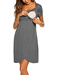 28bdaf8d10139 Umstandskleid Stillnachthemd Damen Kurzarm Umstandsnachthemd Lang Pyjama  Nachtwäsche mit Knopfleiste für Schwangere Frauen Sommer (Größe