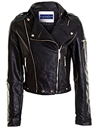 New Ladies Faux Leather Contrast Zip Lined Womens Pu Pvc Crop Biker Jacket 8-14