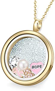 MESTIGE Women Crystal Gold Keeping Faith Floating Charm Necklace with Swarovski Crystals