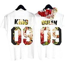 Queque Shine Camiseta King Queen T-Shirt Impresión 09 Piezas de Manga Corta Rey Reina