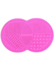 Makeup Brush Cleaning Mat, BESTIM INCUK Cosmetic Brush Cleaner Pad Silicone Washing Tool Scrubber Suction Cup, Rose