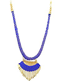Archiecs Creations Alloy Silk Thread Blue & Golden Charm Necklace For Women Or Girl