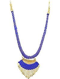 Archiecs Creations Alloy Silk Thread Blue & Golden Charm Necklace For Women Or Girl