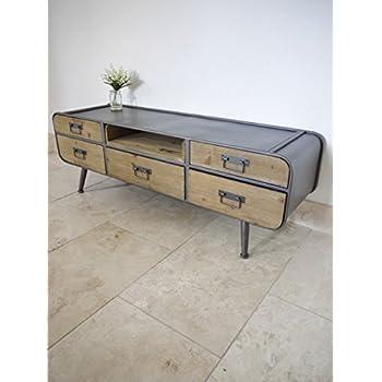 wholesale dealer 6f338 5704c Retro Industrial Low Cabinet 5 Door Sideboard TV Media Unit Storage  Organiser