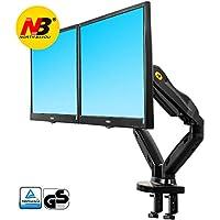 """NB North Bayou F160 17"""" - 27"""" Dual Monitor Tischhalterung mit Justierbare Gasfeder Monitor Halterung Ergonomische 2 Monitore Bildschirm Halterung 2-6.5kg Frei Drehbar 360° VESA 75×75 100×100 Keine USB Kabel"""