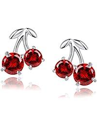 Blingery 925 Silber Rhodium Plated Rot Kirsche Zirkonia Ohrstecker Ohrringe Valentinstag Geschenk für Damen Mädchens