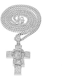 fb37325629b7 Beydodo Colgante Collar Chapado en Oro Hombre Collar de Hombre Collar  Colgante Cruz Retro Circonita Blanca