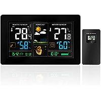 Estación meteorológica inalámbrica con pantalla a color, alarmas, pronóstico del tiempo, alertas de temperatura, monitor de humedad, reloj de alarma que incluye un sensor exterior