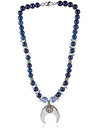 Enaakshi Fashion Jewellery Handmade Necklace With Blue Beads Strand Oxidised Silver Pendant Necklace Set For Women...