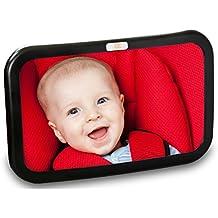 Baby Caboodle Espejo para el asiento trasero del bebé - extra grande - ideal para asiento trasero para coche infantil - ajustable, vista de 360 grados - vista despejada - inastillable