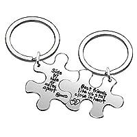 2pcs Best Friend Key Chain Puzzle Friendship Graduation Bestie Gifts - Side by Side Or Miles Apart Best Friends Stay Close in Heart