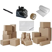 House Moving Removal Packing Kit inc 40 new cardboard boxes (5 sizes), acid free tissue paper, bubble wrap, refuse sacks, tape, marker pen
