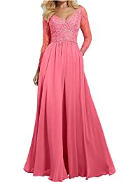 e27514f866b3 Charmant Damen Lang V-Ausschnitt Spitze Abendkleider Brautmutterkleider  Partykleider Festlichkleider mit Langarm