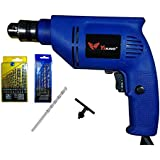 Wales Yiking 450W Reversible 10mm Drill Machine With Left Right Rotation And Variable Speed Trigger 5Pc Masonry Set And 13 Pieces Hss Drill-Set