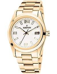 Kronos - Elegance Golden 968.9.33 - Reloj Unisex de Cuarzo, Brazalete de Acero