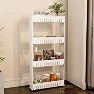 (4 Tier) - Mobile Shelving Unit Organiser with 4 Large Storage Baskets, Slim Slide Out Pantry Storage Rack for
