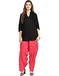 Pistaa Women's Cotton Short Black Kurta And Peach Patiala Salwar Set With Plus Size