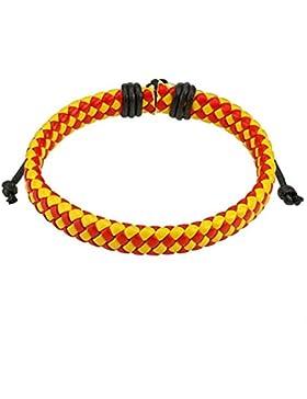 Paula & Fritz® Armband Leder Schnur Kariert diagonal III geflochten gelb rot S...